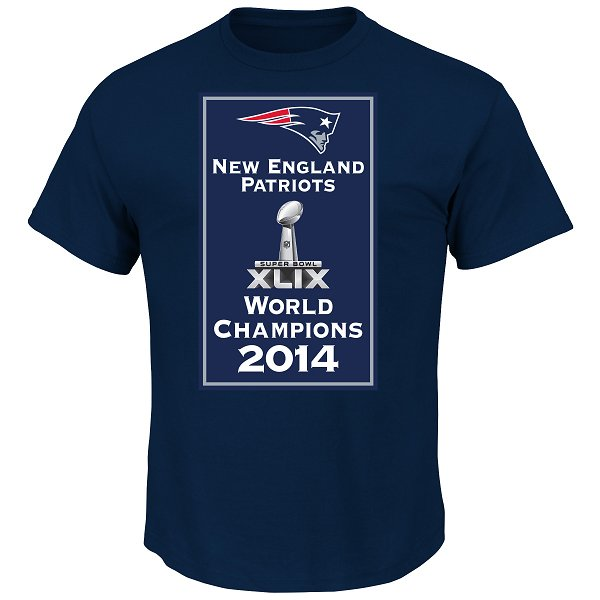 Majestic Super Bowl XLIX Banner Tee-Navy