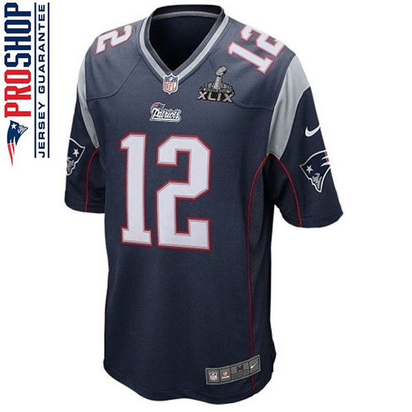 Nike Tom Brady SB49 Patch Game Jersey-Navy