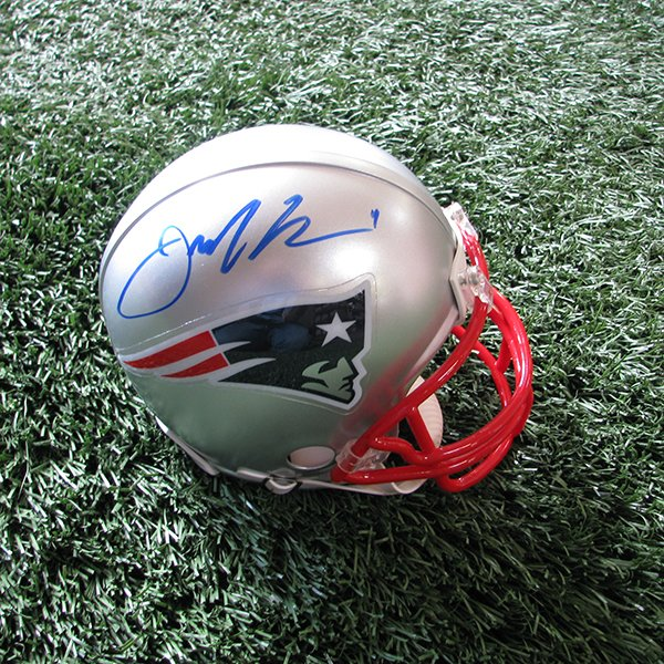Autographed Julian Edelman Mini Helmet w/Case