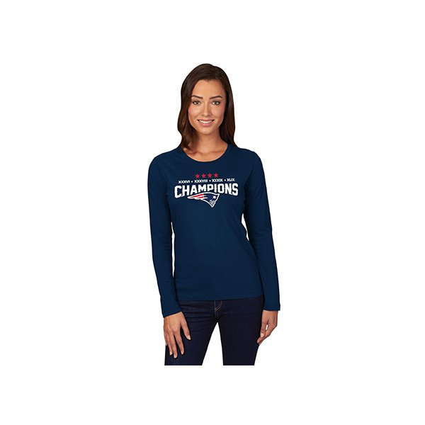 Ladies Majestic 4 Time Super Bowl Champion Long Sleeve Tee