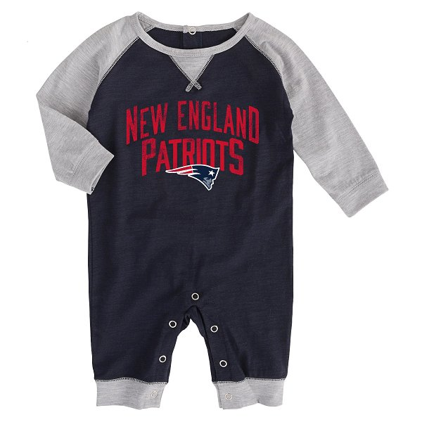 Newborn Proud Fan Romper-Navy/Gray