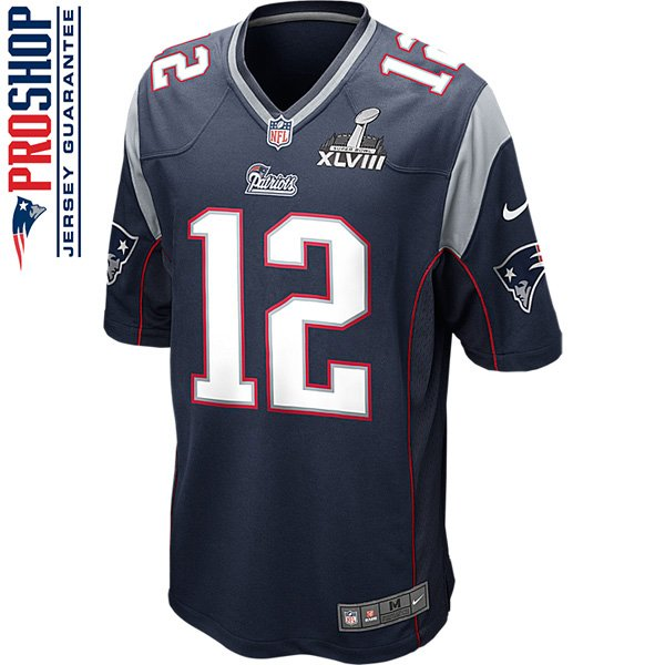 Nike Tom Brady SB49 Patch Game Jersey-Navy